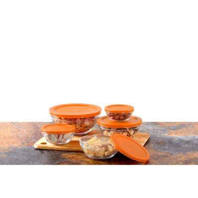 10-Piece Glass Food Storage Bowls with Orange Lids