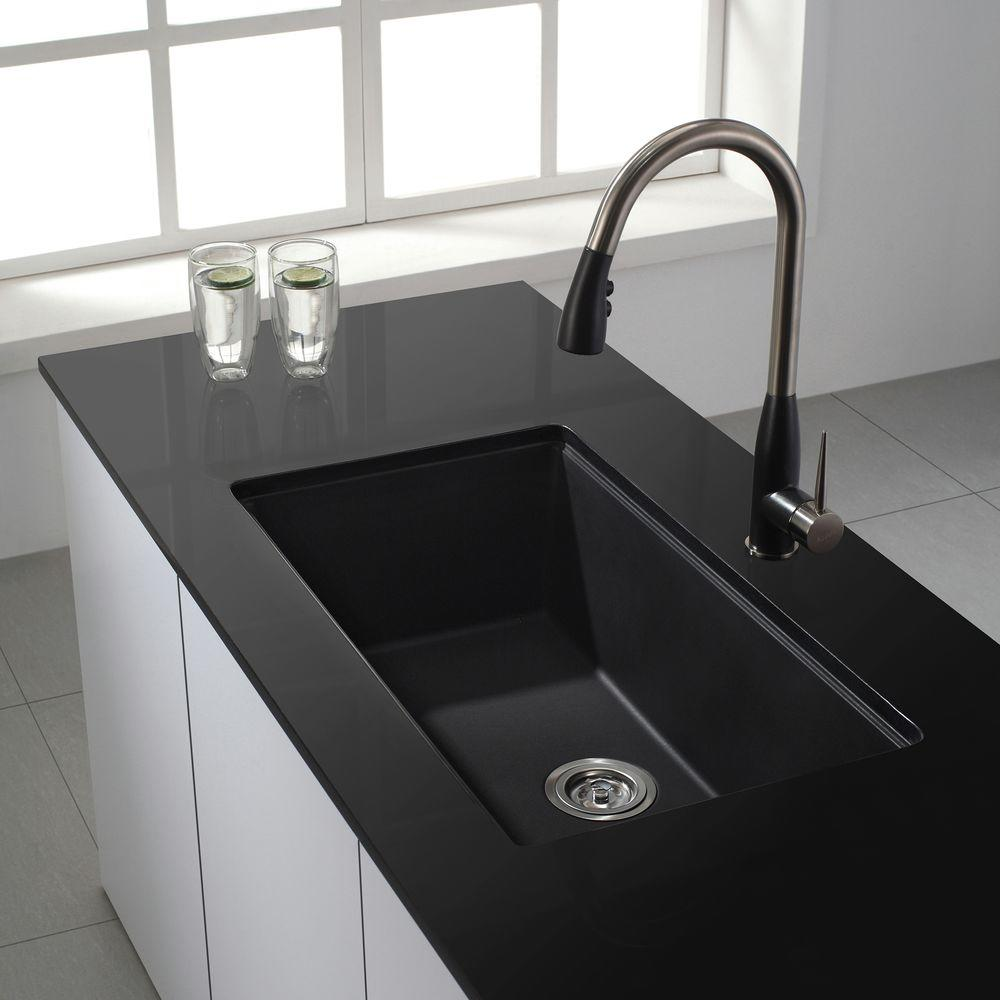 KRAUS All-in-One Undermount Granite Composite 31 in. Single Kitchen Sink  Bowl with Faucet in Stainless Steel and Black Onyx