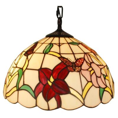 Tiffany Style 2-Light Floral Hanging Pendant Lamp 14 in. Wide