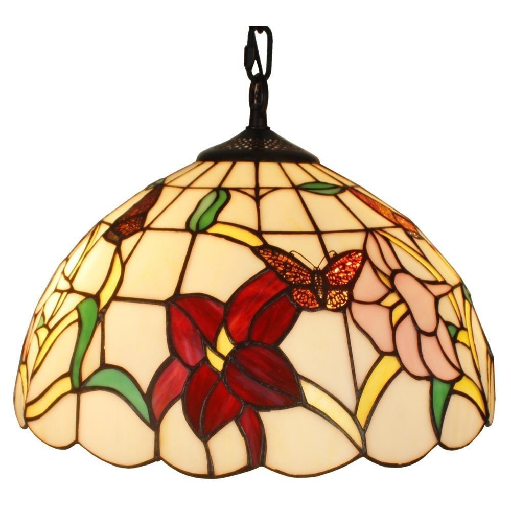 Multicolored pendant lights lighting the home depot tiffany style 2 light floral hanging pendant lamp 14 in wide arubaitofo Gallery