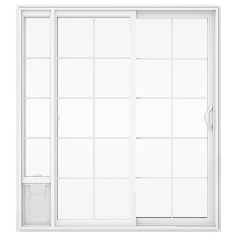 Jeld wen 72 in x 80 in v 2500 white vinyl right hand 15 for White sliding patio doors