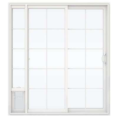 72 in. x 80 in. V2500 White Vinyl Prehung Right Hand 15 Lite Sliding Patio Door with Medium Pet Door