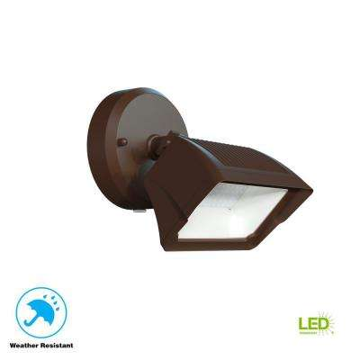1-Light Integrated LED Outdoor Bronze Dusk to Dawn Security Flood Light