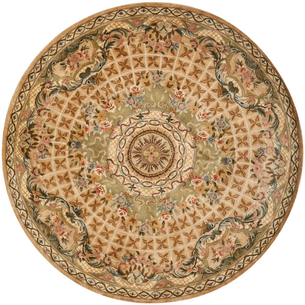 Safavieh Classic Taupe/Light Green 6 Ft. X 6 Ft. Round