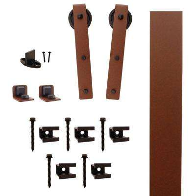 Hook Strap New Age Rust Rolling Barn Door Hardware Kit with 3 in. Wheel