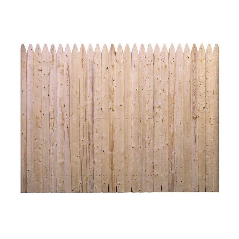 Barrette 6 Ft H X 8 Ft W Flat Rough Sawn Stockade Fence Panel