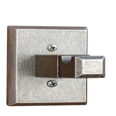 Square Base Single Robe Hook in Distressed Nickel