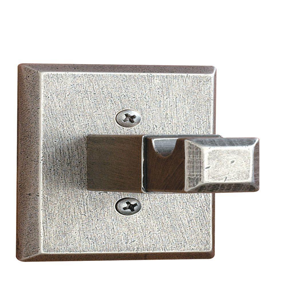Square Base Single Robe Hook in Distressed Nickel