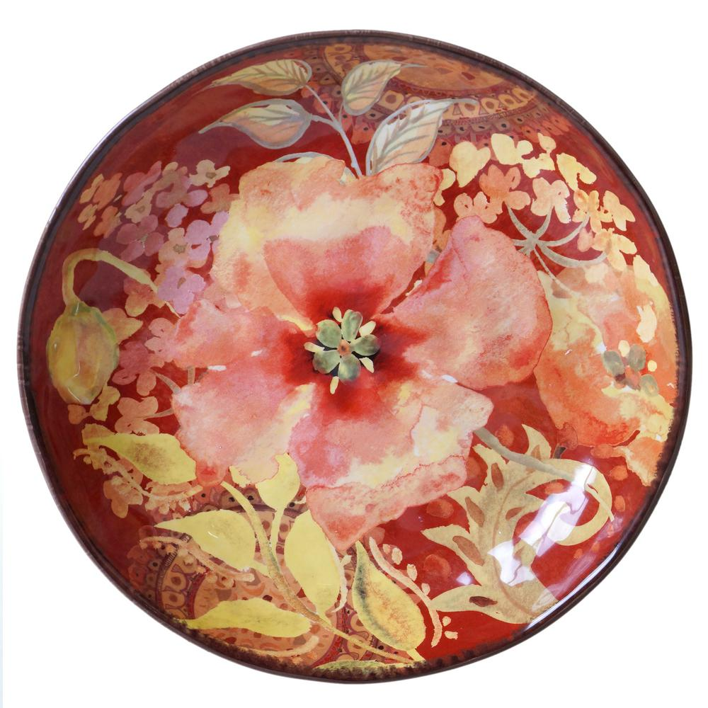Watercolor Poppies Red Pasta and Salad Serving Bowl