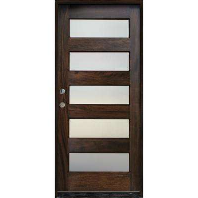 36in. x 80in. Contemporary Espresso Right Hand Inswing 5- Lite Mistlite Stained Mahogany Wood Prehung Front Door