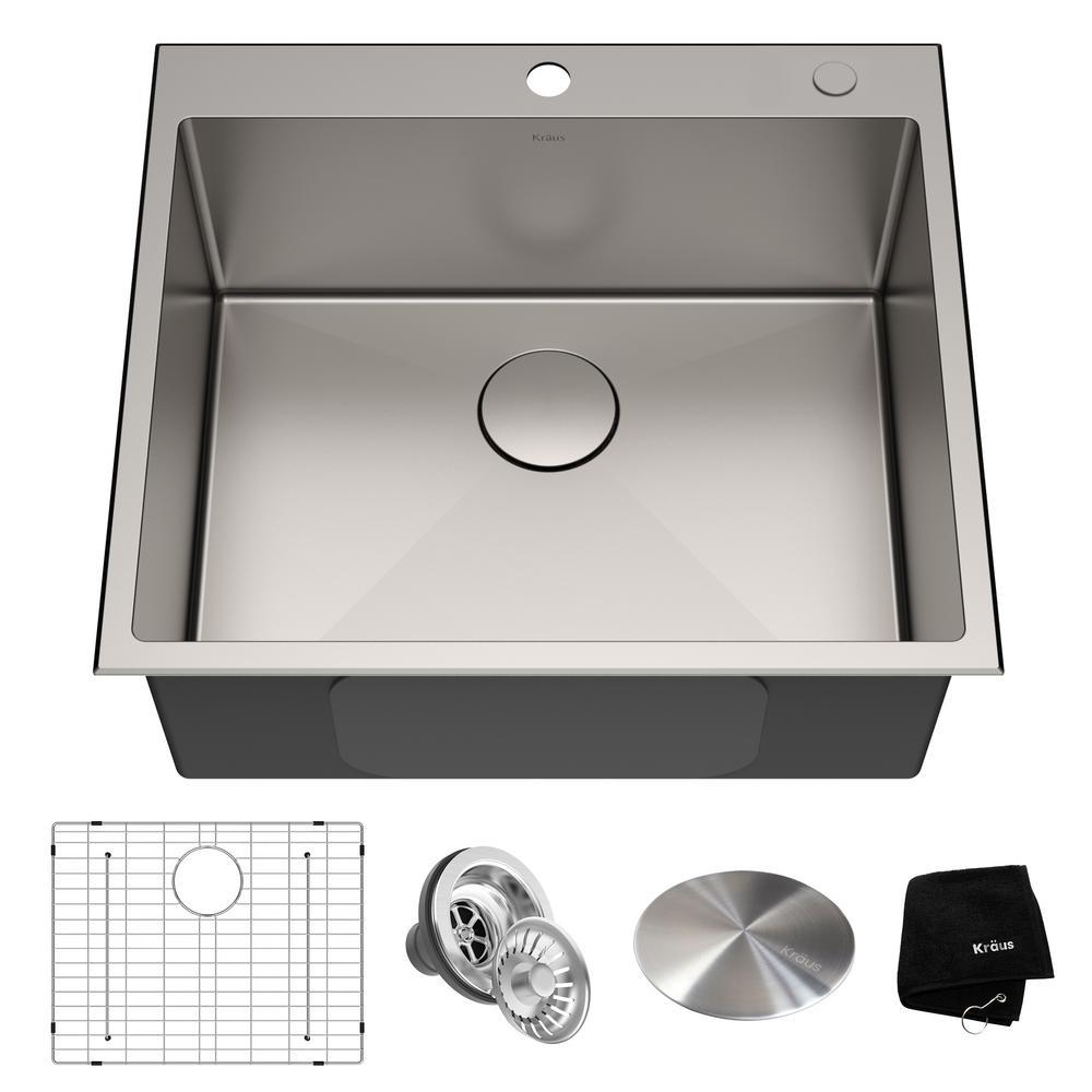Standart PRO Drop-in Stainless Steel 25 in. 2-Hole Single Bowl Kitchen Sink