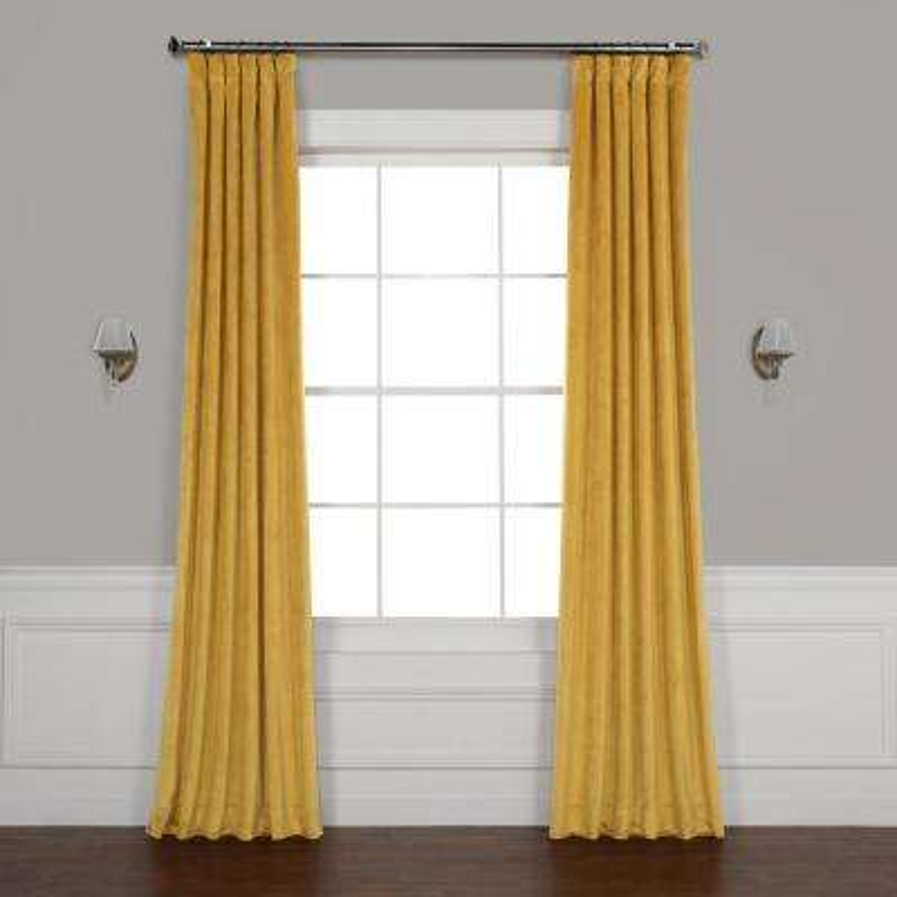 Aztec Gold Heritage Plush Velvet Curtain - 50 in. W x 84 in. L
