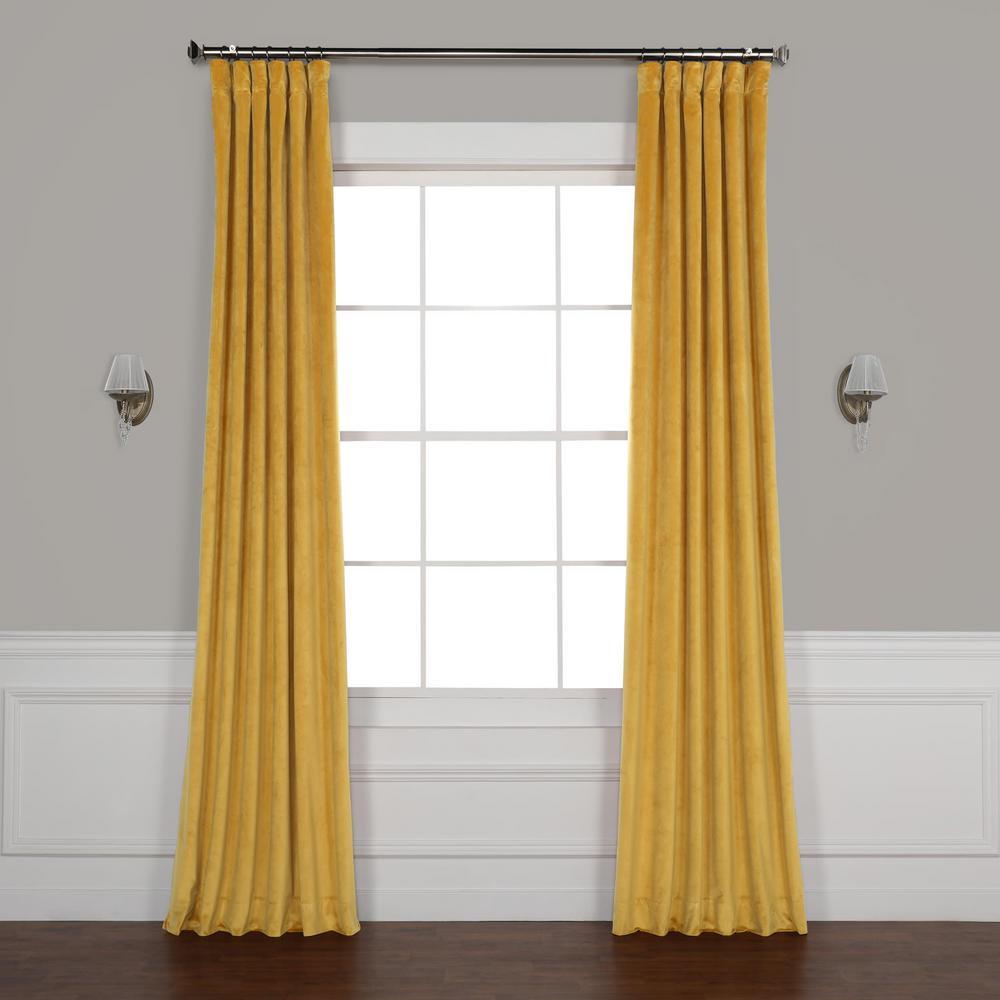 Aztec Gold Heritage Plush Velvet Curtain - 50 in. W x 96 in. L