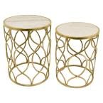 22.75 in. Gold Metal Marble Top Tables (Set of 2)