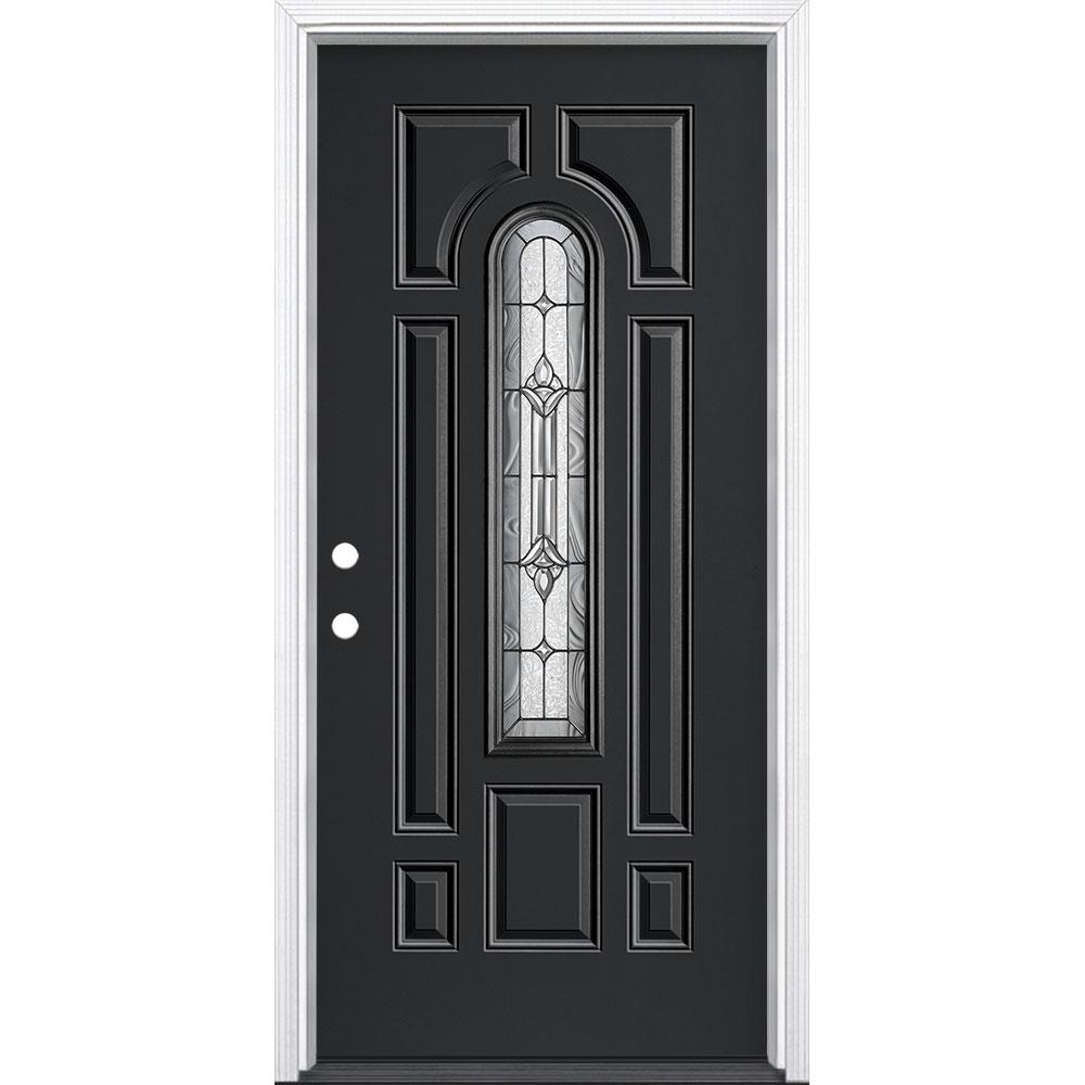 Masonite 36 in. x 80 in. Providence Center Arch Jet Black Right-Hand Inswing Painted Steel Prehung Front Door with Brickmold