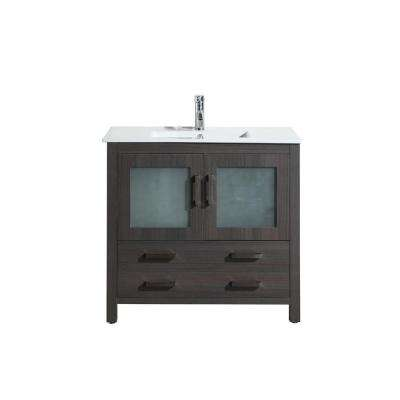 Reina 36 in. Vanity in Gray with Porcelain Vanity Top in White with White Basin