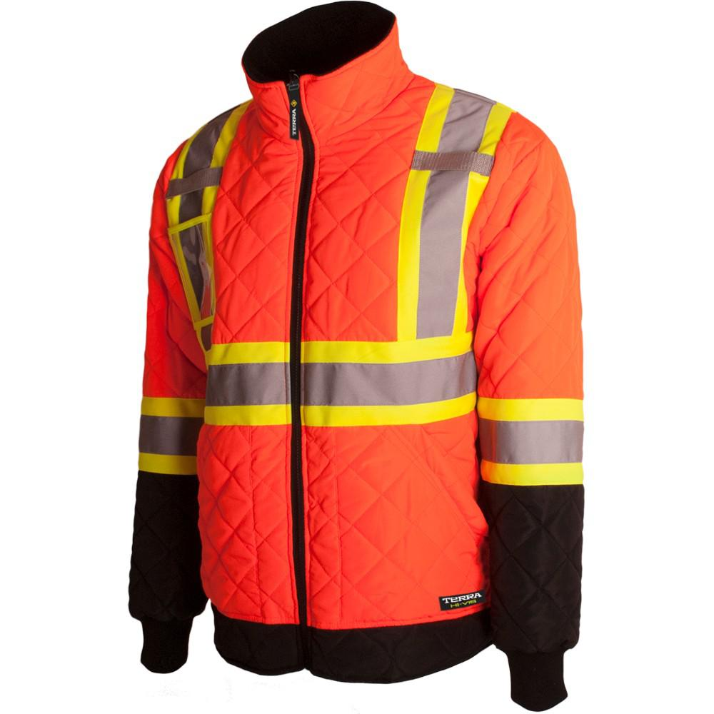 Terra Men's Medium Orange High-Visibility Quilted and ...