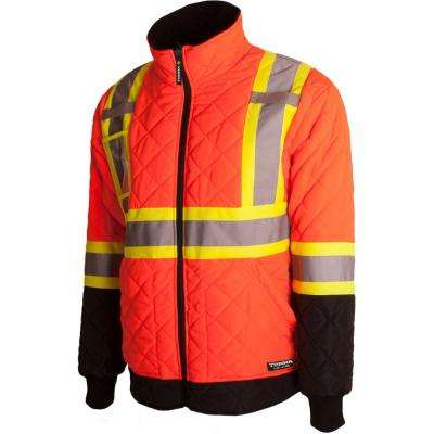 Men's Large Orange High-Visibility Quilted and Lined Reflective Safety Freezer Jacket