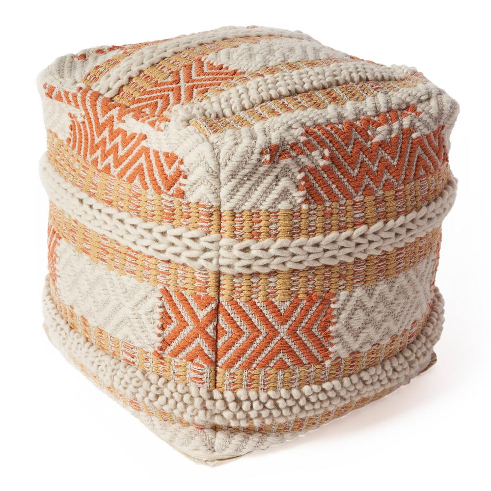 KasRugs Kas Rugs Knits Oasis Ivory Hypoallergenic Polyester 18 in. x 18 in. Throw Pillow