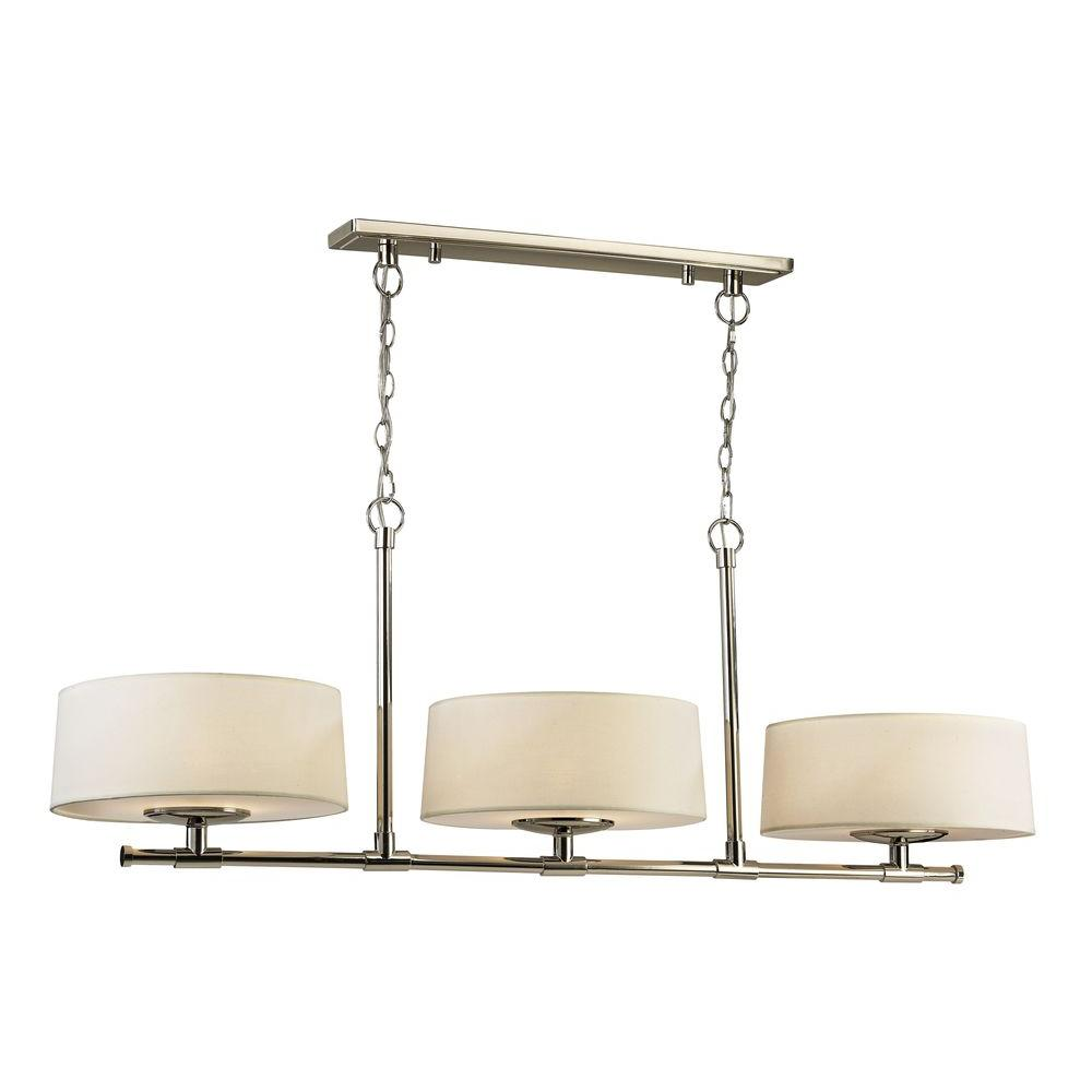 3-Light Polished Nickel Island Pendant with Cream Fabric Shades and White