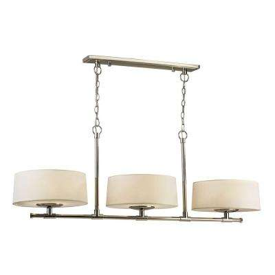 3-Light Polished Nickel Island Pendant with Cream Fabric Shades and White Acrylic Diffusers