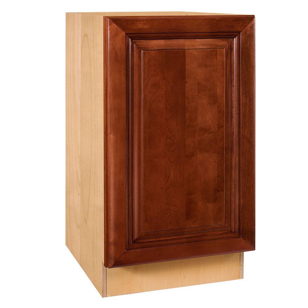 Home Decorators Collection Lyndhurst Assembled 15x34.5x24 in. Single Door Hinge Left Base Kitchen Cabinet in Cabernet