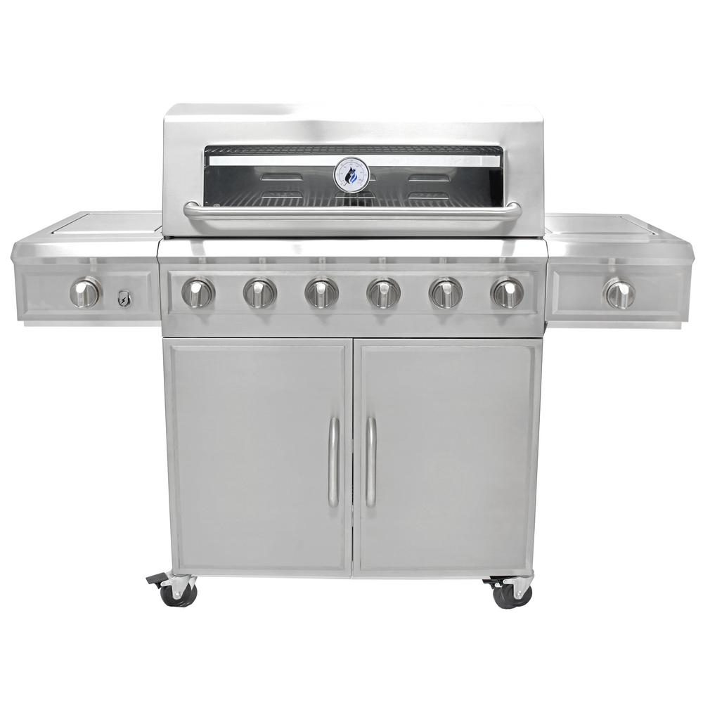 3 Embers 6 Burner Stainless Steel Dual Fuel Propane Gas Grill