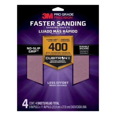 Pro Grade Precision 9 in. x 11 in. 400 Grit X-Fine Advanced Sanding Sheets (4-Pack)