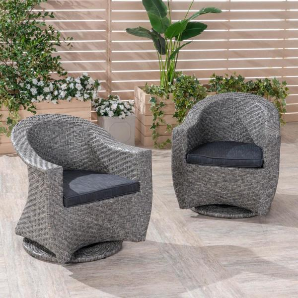 Larchmont Mixed Black Swivel Metal Outdoor Lounge Chair with Dark Grey Cushion (2-Pack)