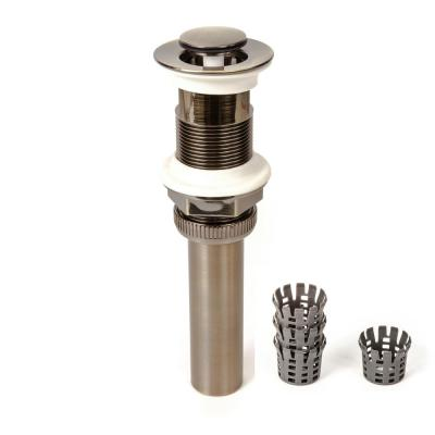 1-1/4 in. DecoDRAIN Push Closing (Flushed Cap) Pop-Up Drain with Hair Catcher, Antique Brass ABS Body with Overflow