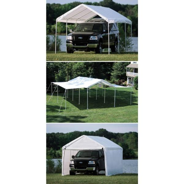 Shelterlogic 10 Ft W X 20 Ft H Max Ap 3 In 1 Canopy In White W Enclosure And Extension Kits Steel Frame And Best In Class Pipes 23532 The Home Depot