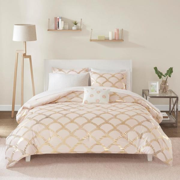 Kaylee 6-Piece Blush Twin Bed in a Bag Set