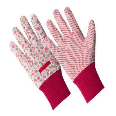 Ladies Small/Medium Pink Flower Poly/Cotton Blend Gloves with PVC Dotted Palm and Knit Wrist