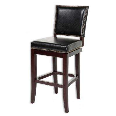 30 in. Sacramento Wood Bar Stool with Black Upholstered Nailhead Trim Swivel-Seat and Espresso Frame Finish