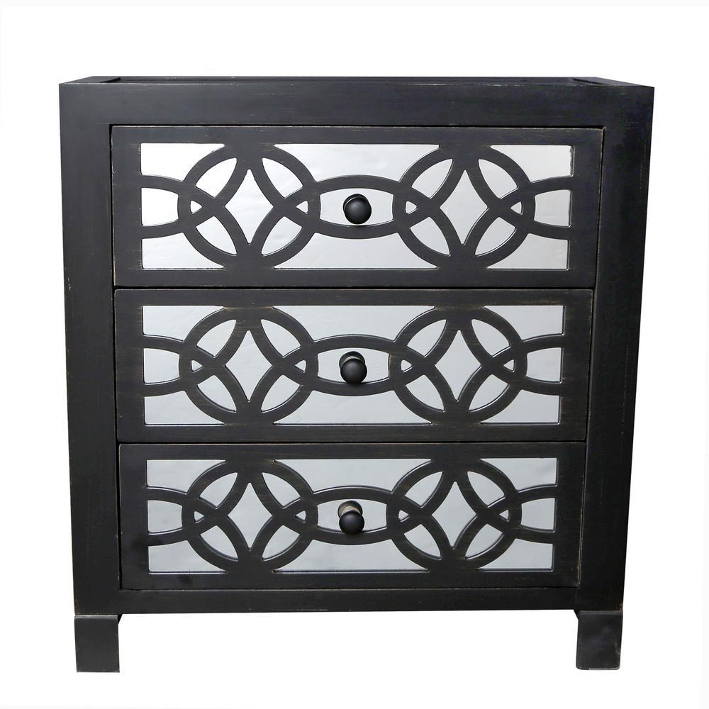 Glam Slam 3-Drawer Black Cabinet