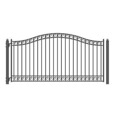 Dublin Style 14 ft. x 6 ft. Black Steel Single Swing Driveway Fence Gate