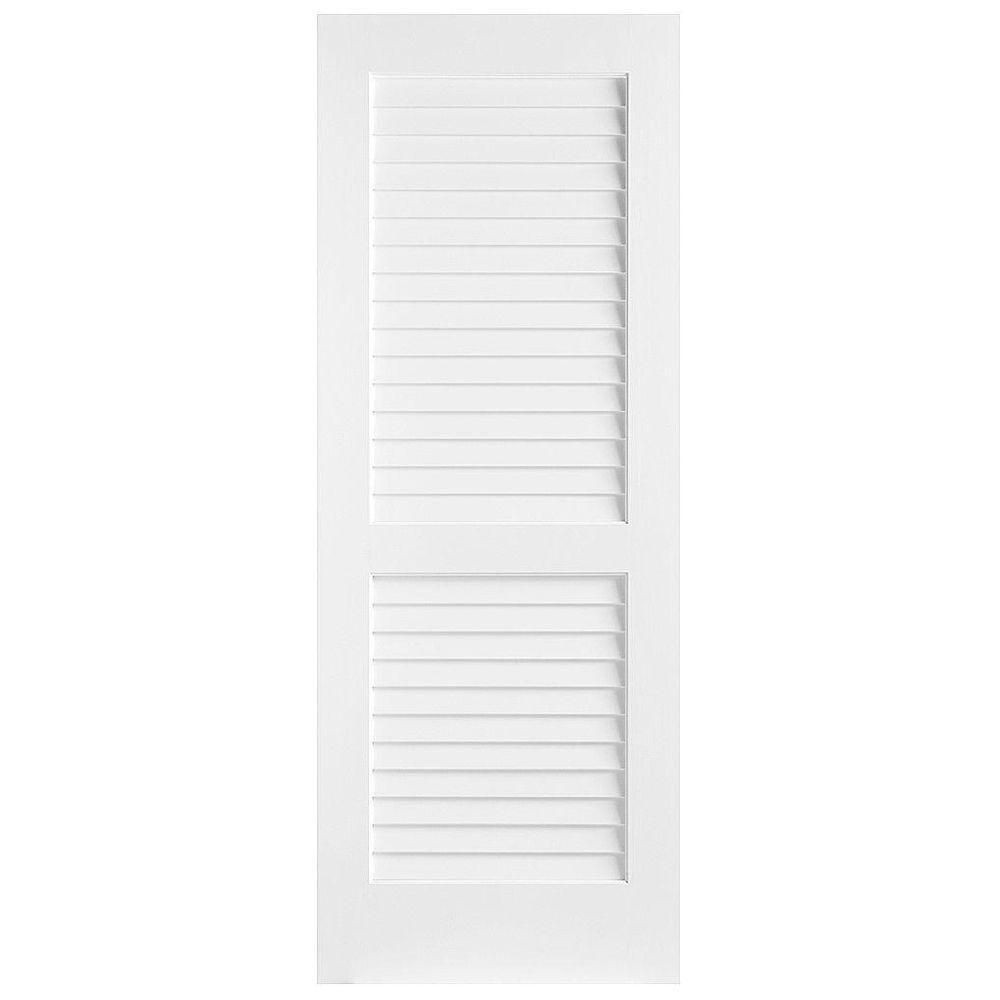 Masonite 30 in. x 80 in. Plantation Smooth Full Louver Solid Core Primed Pine Interior Door Slab
