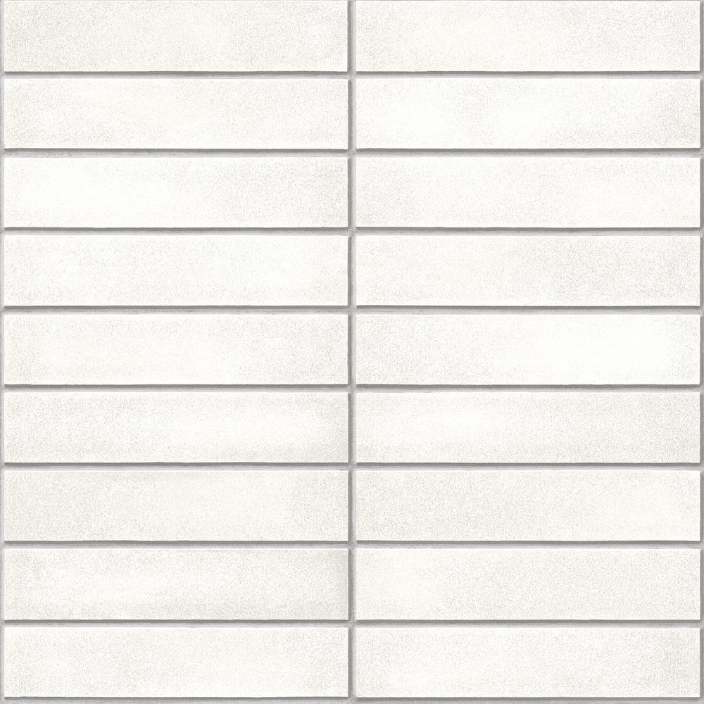 White Mid-Century Brick Vinyl Strippable Wallpaper (Covers 30.75 sq. ft.)