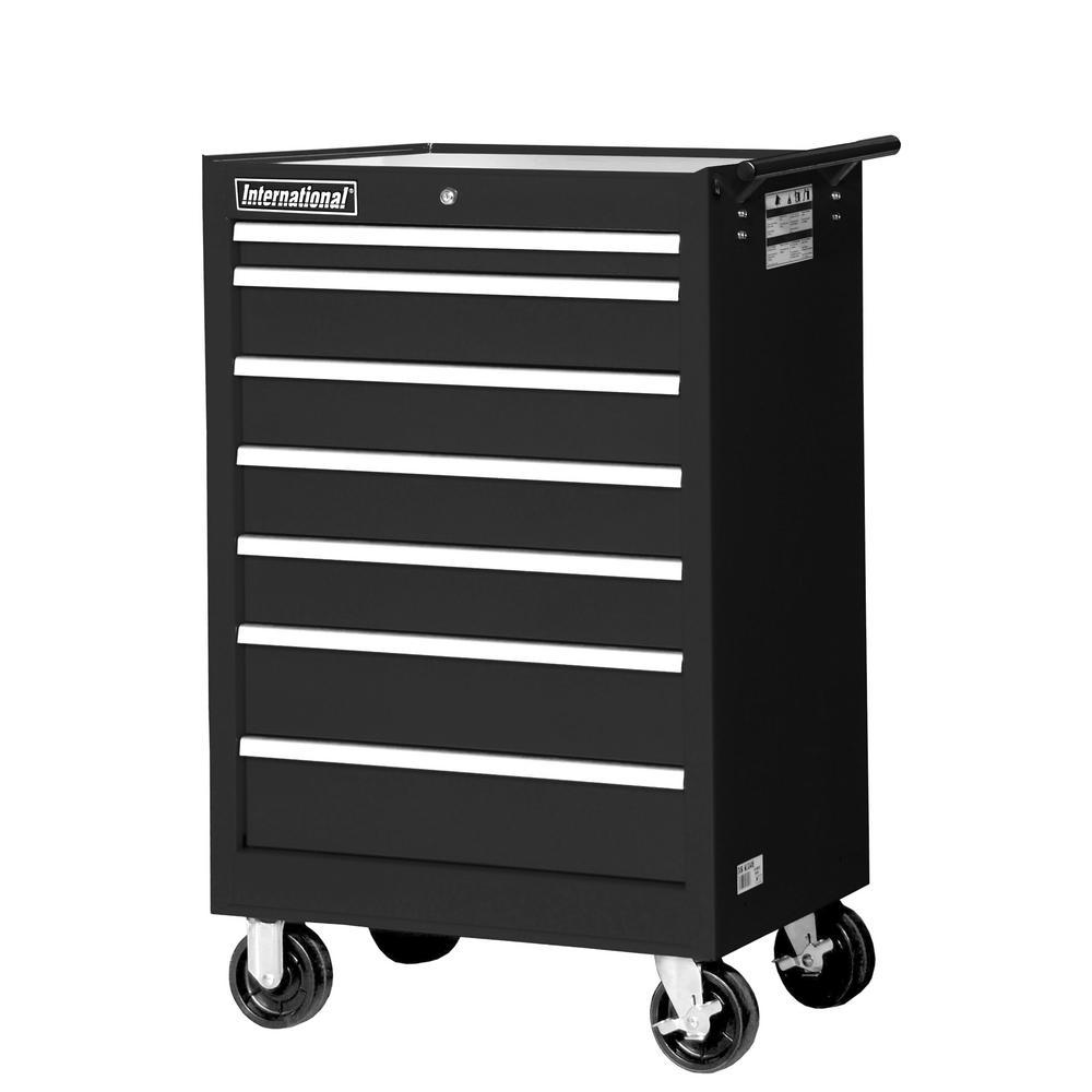 International Tech Series 27 inch 7-Drawer Roller Cabinet Tool Chest Black by International