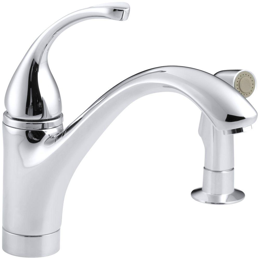 Kohler Forte Single Handle Standard Kitchen Faucet With Side Sprayer