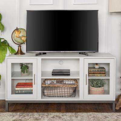 52 in. Avenue Wood TV Console with Metal Legs in White