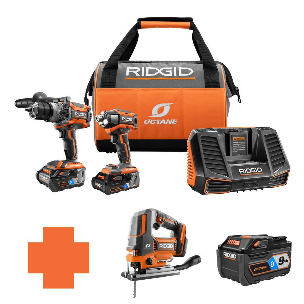 RIDGID 18-Volt OCTANE Lithium-Ion Cordless Brushless Combo Kit w/Bonus Brushless Jig Saw & Bluetooth 9.0 Ah Battery