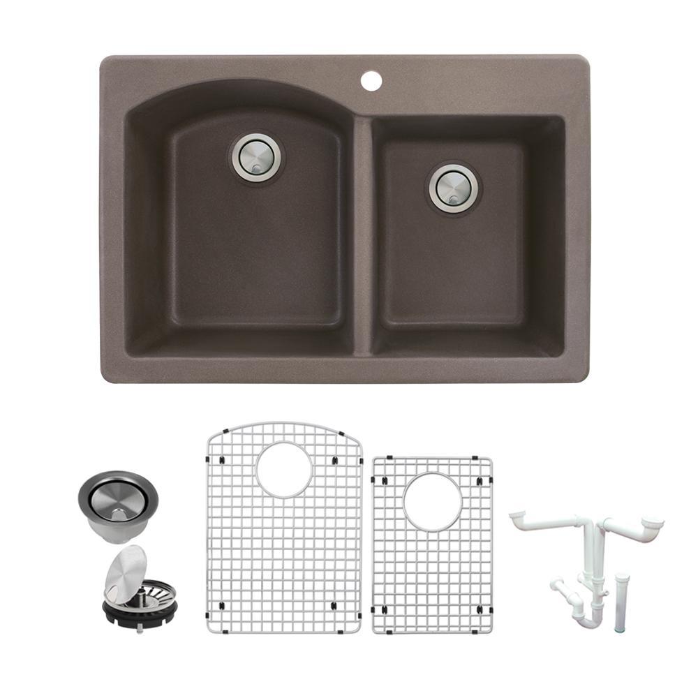 Aversa All-in-One Drop-in Granite 33 in. 1-Hole 1-3/4 in. D-Shape Double Bowl Kitchen Sink in Espresso