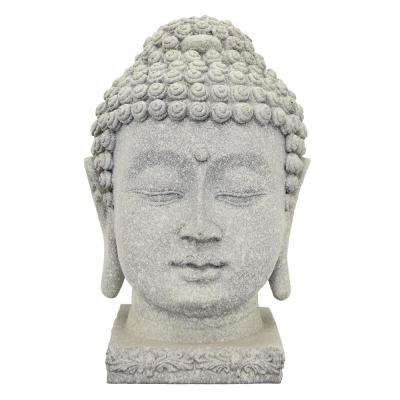 12 in. Resin Buddha Head Decoration in Gray