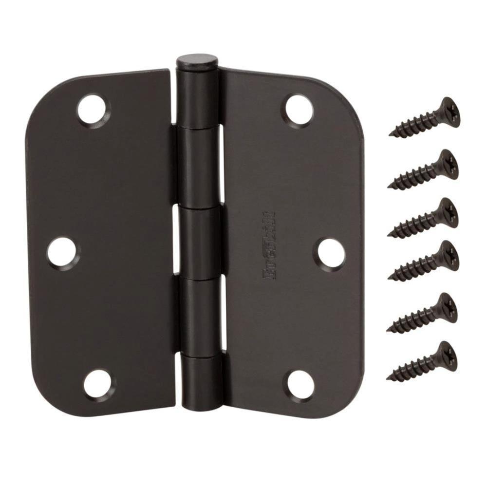 3-1/2 in. x 5/8 in. Radius Oil-Rubbed Bronze Door Hinge Value Pack (12 per Pack)