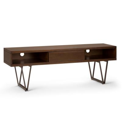 Ryder Solid Wood and Metal 66 in. Wide Modern Entertainment TV Stand in Natural Aged Brown for TVs Upto 70 in.