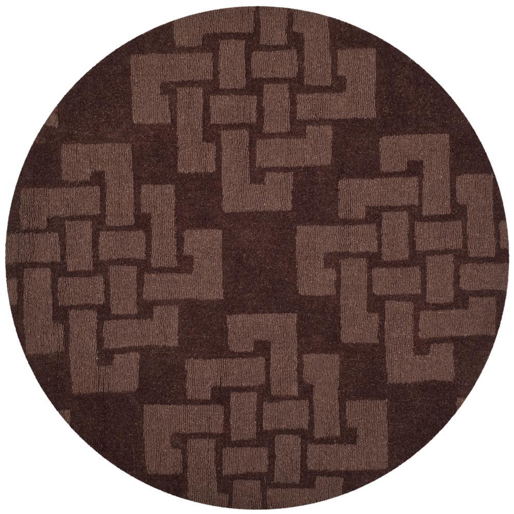 Martha Stewart Chocolate Truffle 4 ft. X 4 ft. Round Area Rug