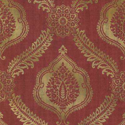 Zoraya Burgundy Damask Wallpaper