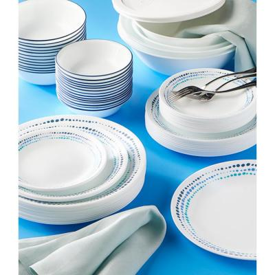 Classic 78-Piece Casual Ocean Blues Glass Dinnerware Set (Service for 12)