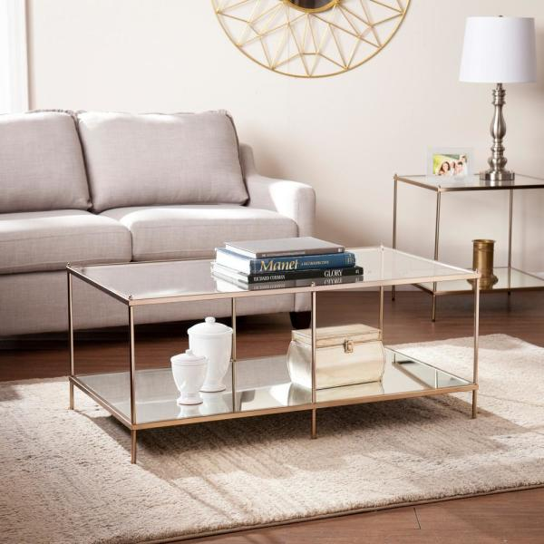 Pandora 43 in. Warm Gold Large Rectangle Glass Coffee Table with Shelf